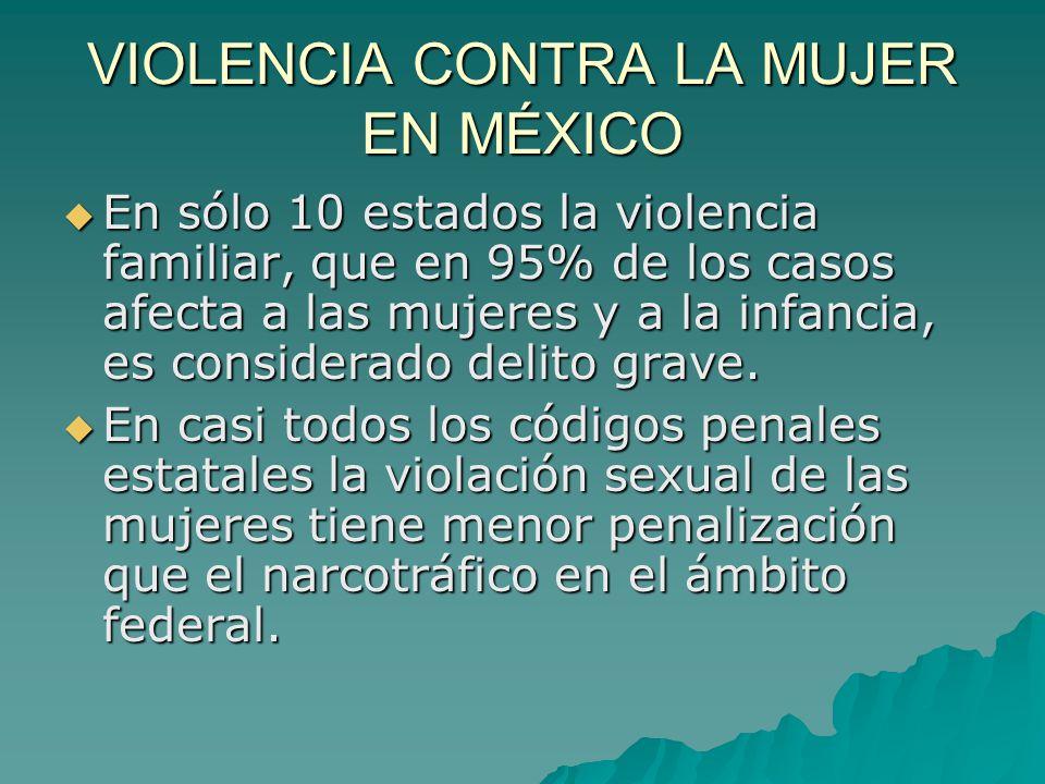 VIOLENCIA CONTRA LA MUJER EN MÉXICO En sólo 10 estados la violencia familiar, que en 95% de los casos afecta a las mujeres y a la infancia, es considerado delito grave.