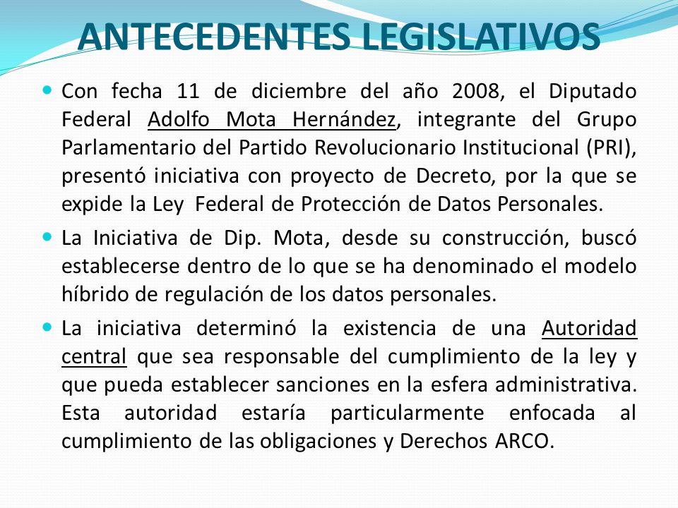 ANTECEDENTES LEGISLATIVOS Con fecha 11 de diciembre del año 2008, el Diputado Federal Adolfo Mota Hernández, integrante del Grupo Parlamentario del Pa