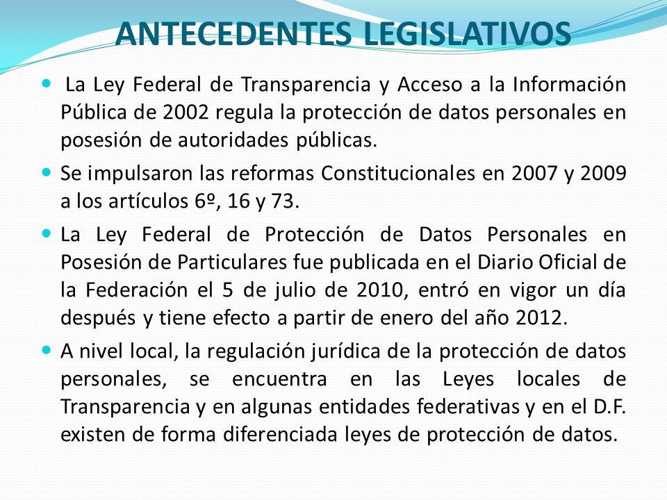 ANTECEDENTES LEGISLATIVOS La Ley Federal de Transparencia y Acceso a la Información Pública de 2002 regula la protección de datos personales en posesi