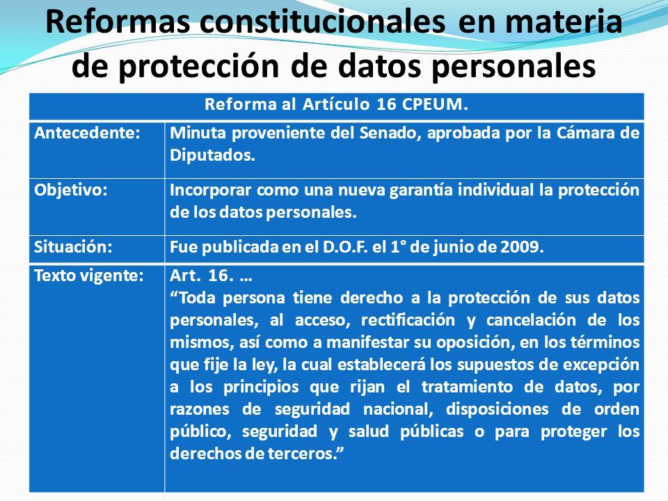 Reformas constitucionales en materia de protección de datos personales Reforma al Artículo 16 CPEUM. Antecedente:Minuta proveniente del Senado, aproba