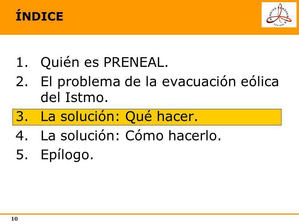 10 ÍNDICE 1.Quién es PRENEAL. 2.El problema de la evacuación eólica del Istmo. 3.La solución: Qué hacer. 4.La solución: Cómo hacerlo. 5.Epílogo.
