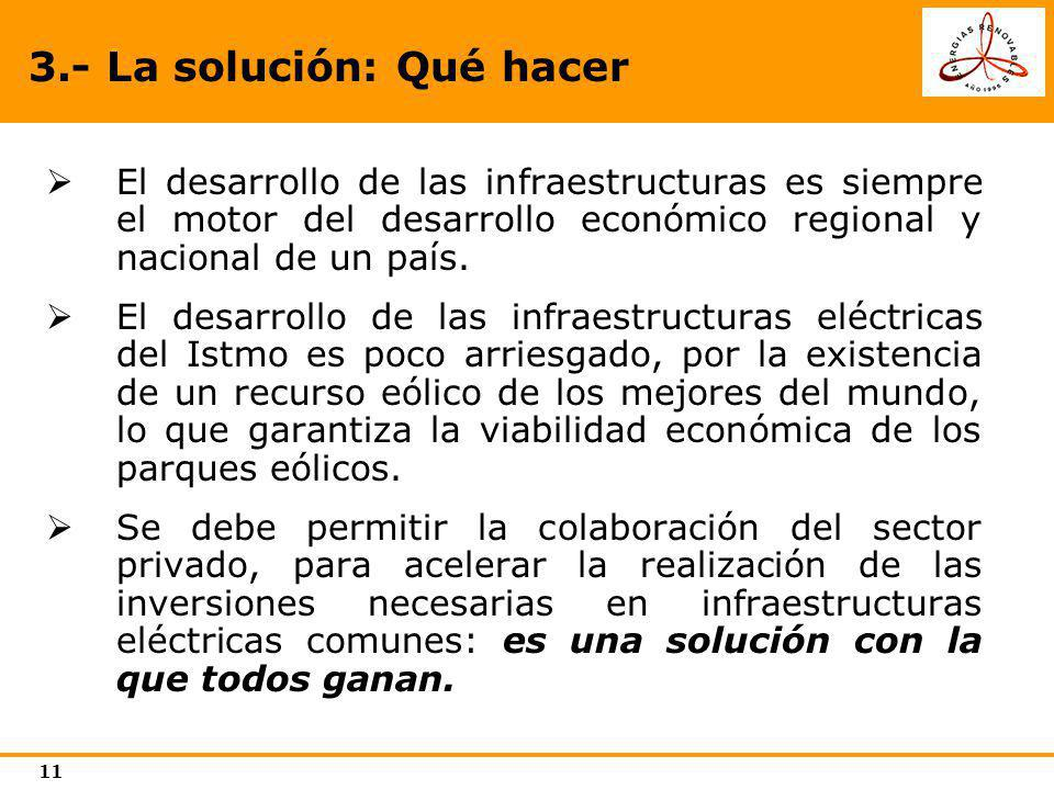 11 3.- La solución: Qué hacer El desarrollo de las infraestructuras es siempre el motor del desarrollo económico regional y nacional de un país. El de