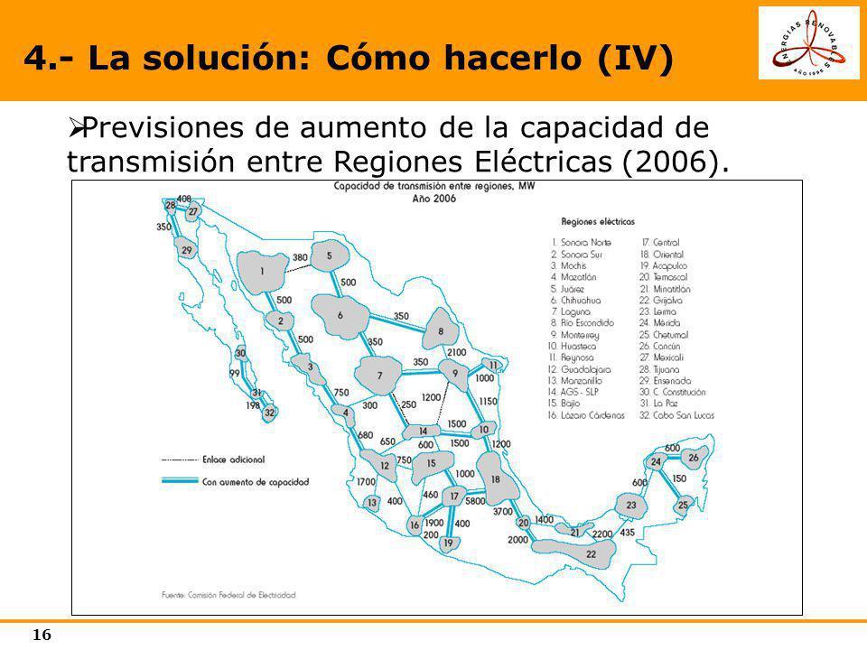 16 Previsiones de aumento de la capacidad de transmisión entre Regiones Eléctricas (2006). 4.- La solución: Cómo hacerlo (IV)