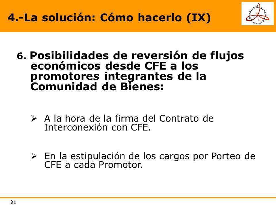 21 4.-La solución: Cómo hacerlo (IX) 6. Posibilidades de reversión de flujos económicos desde CFE a los promotores integrantes de la Comunidad de Bien