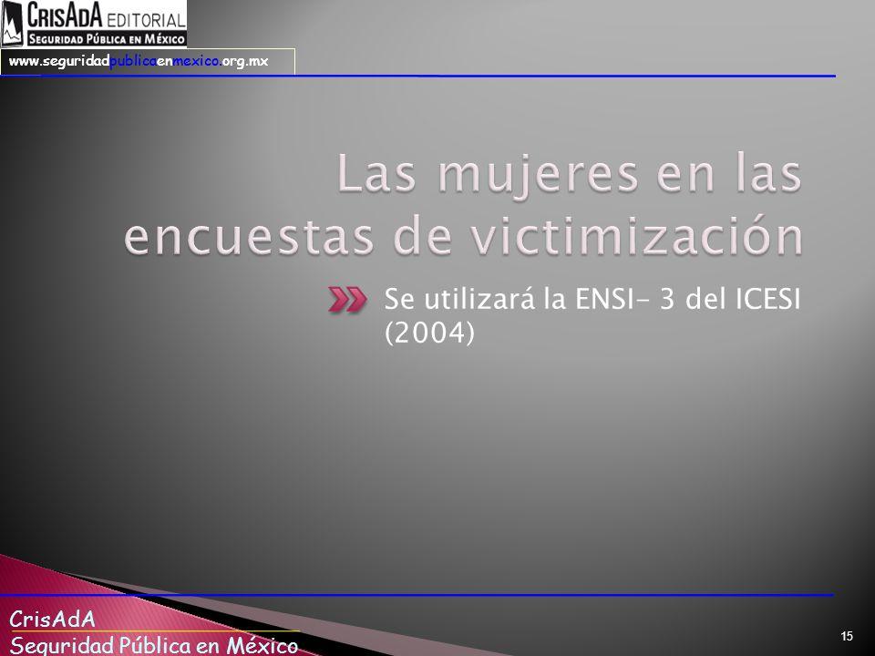 CrisAdA Seguridad Pública en México www.seguridadpublicaenmexico.org.mx Se utilizará la ENSI- 3 del ICESI (2004) 15