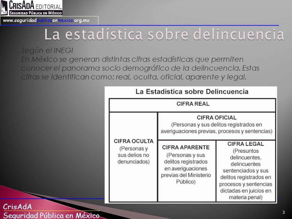CrisAdA Seguridad Pública en México www.seguridadpublicaenmexico.org.mx 3 Según el INEGI En México se generan distintas cifras estadísticas que permiten conocer el panorama socio demográfico de la delincuencia.