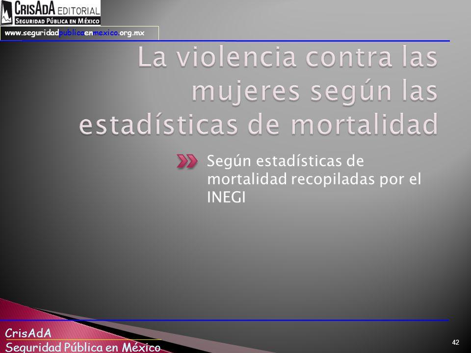 CrisAdA Seguridad Pública en México www.seguridadpublicaenmexico.org.mx Según estadísticas de mortalidad recopiladas por el INEGI 42
