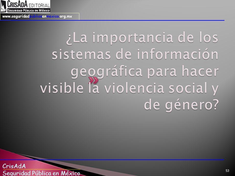 CrisAdA Seguridad Pública en México www.seguridadpublicaenmexico.org.mx 53
