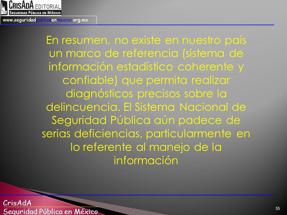 CrisAdA Seguridad Pública en México www.seguridadpublicaenmexico.org.mx 55 En resumen, no existe en nuestro país un marco de referencia (sistema de información estadístico coherente y confiable) que permita realizar diagnósticos precisos sobre la delincuencia.