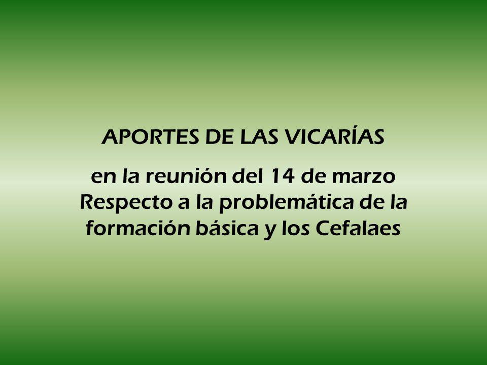 APORTES DE LAS VICARÍAS en la reunión del 14 de marzo Respecto a la problemática de la formación básica y los Cefalaes