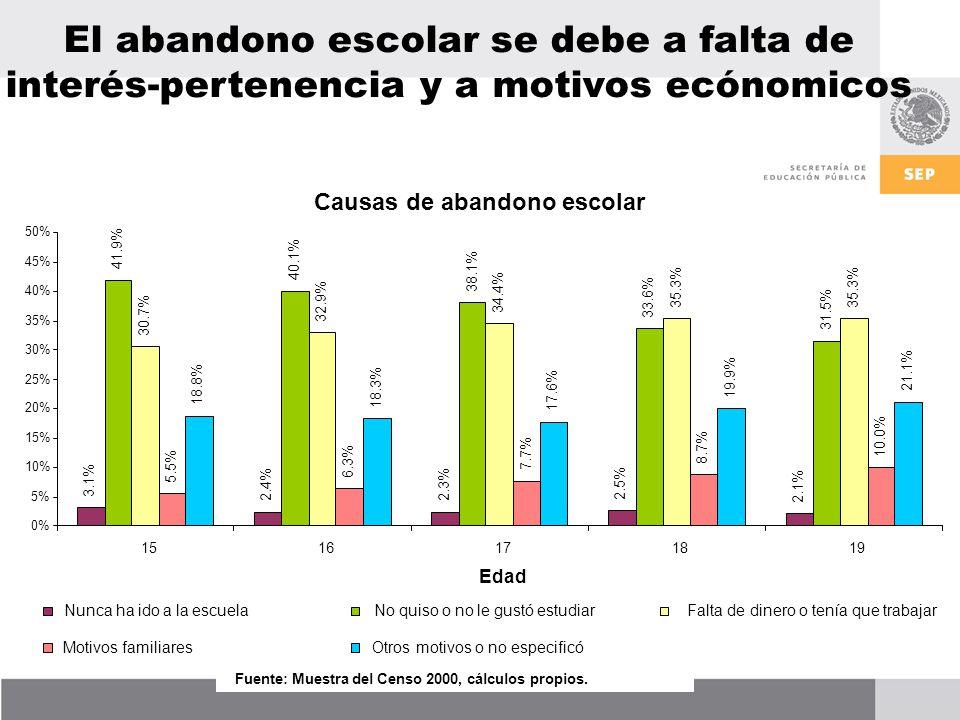 Causas de abandono escolar 3.1% 2.4%2.3% 2.5% 2.1% 41.9% 40.1% 38.1% 33.6% 31.5% 30.7% 32.9% 34.4% 35.3% 5.5% 6.3% 7.7% 8.7% 10.0% 18.8% 18.3% 17.6% 19.9% 21.1% 0% 5% 10% 15% 20% 25% 30% 35% 40% 45% 50% 1516171819 Edad Nunca ha ido a la escuelaNo quiso o no le gustó estudiar Falta de dinero o tenía que trabajar Motivos familiaresOtros motivos o no especificó Fuente: Muestra del Censo 2000, cálculos propios.