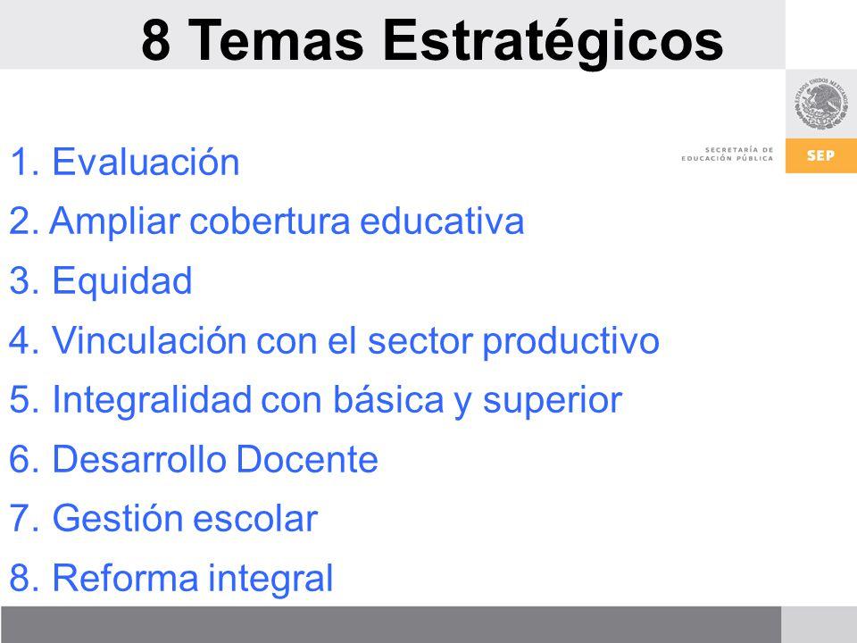 8 Temas Estratégicos 1.Evaluación 2. Ampliar cobertura educativa 3.