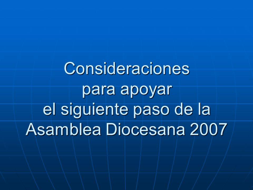 Consideraciones para apoyar el siguiente paso de la Asamblea Diocesana 2007