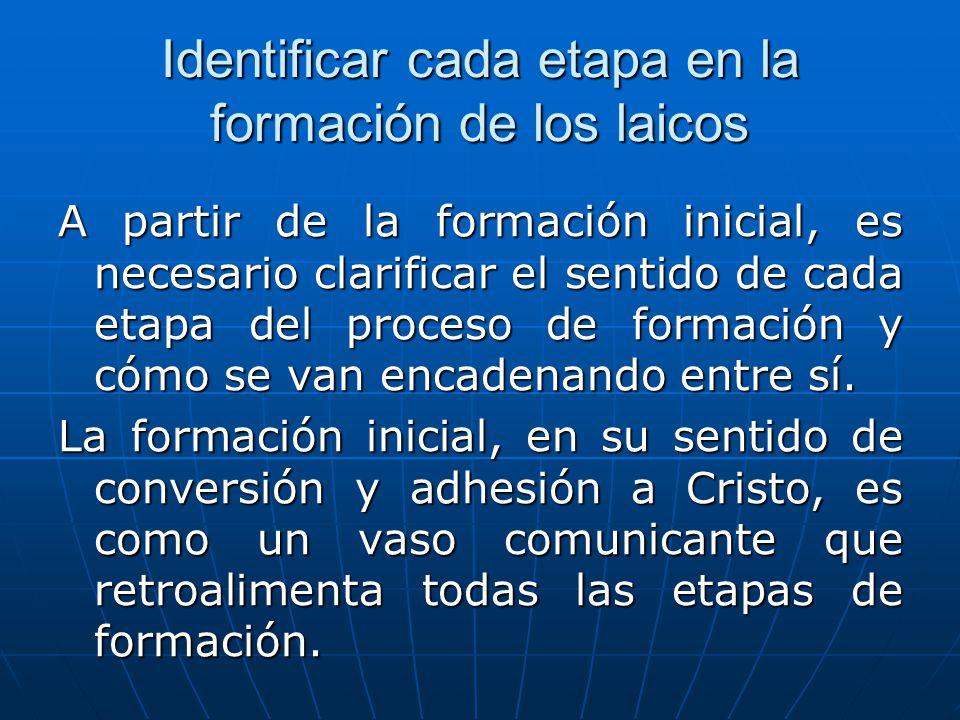 Identificar cada etapa en la formación de los laicos A partir de la formación inicial, es necesario clarificar el sentido de cada etapa del proceso de formación y cómo se van encadenando entre sí.