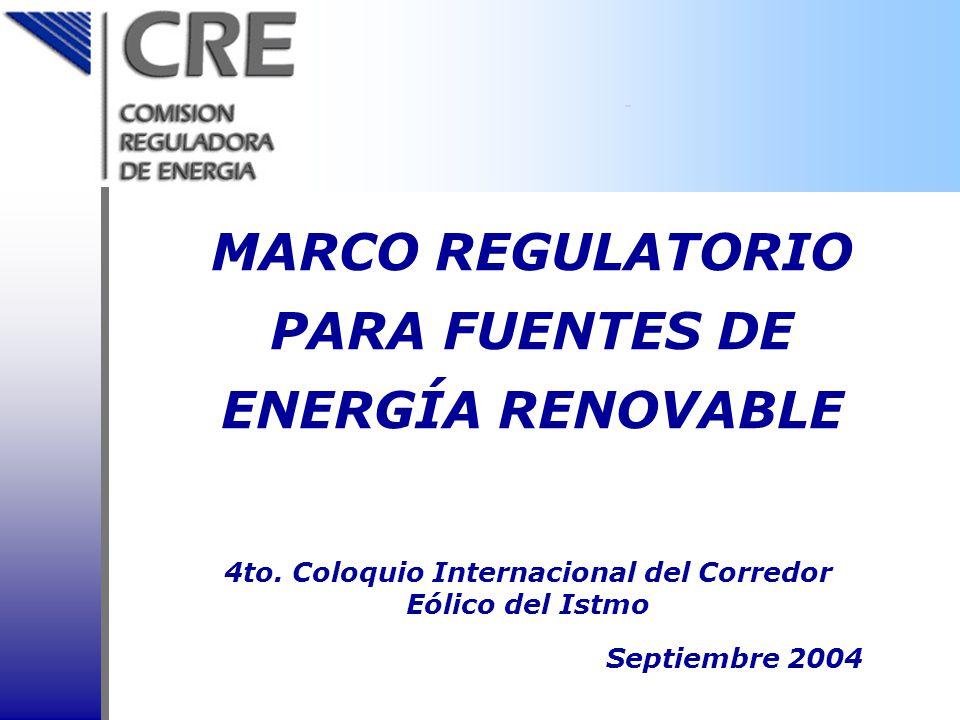 Estructura del sector energía La reforma de 1992 a la Ley del Servicio Público de Energía Eléctrica permitió la participación privada en la generación En 1993 se creó la CRE, en 1995 se aprobó la Ley de la CRE Las reformas de 1992 y 1995 han permitido mayor participación privada en la generación de energía eléctrica Marco Legal