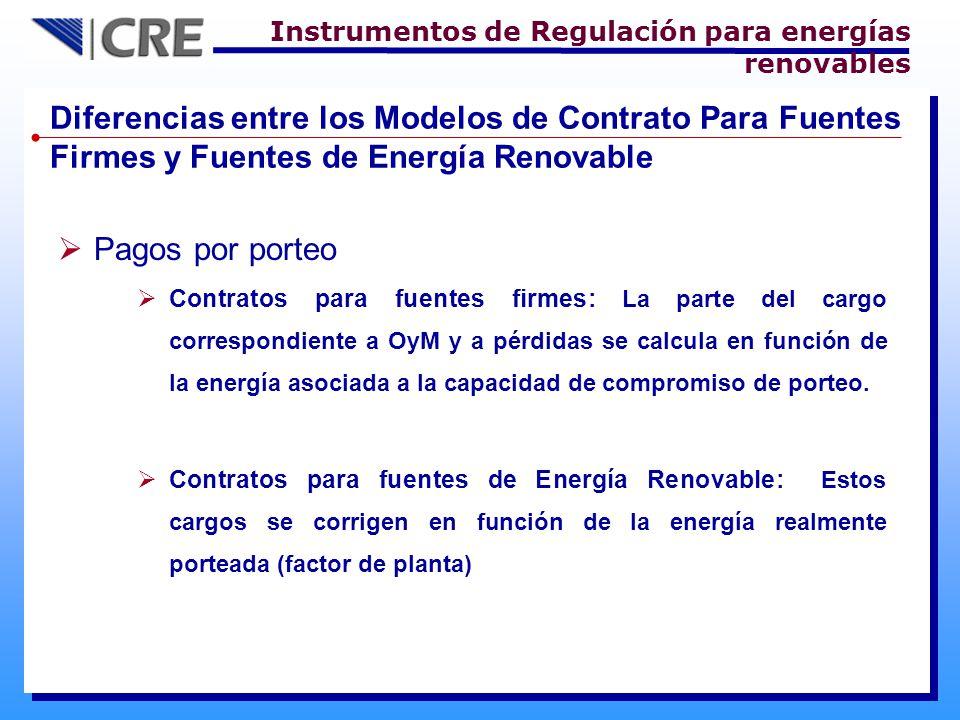 Diferencias entre los Modelos de Contrato Para Fuentes Firmes y Fuentes de Energía Renovable Pagos por porteo Contratos para fuentes firmes: La parte del cargo correspondiente a OyM y a pérdidas se calcula en función de la energía asociada a la capacidad de compromiso de porteo.