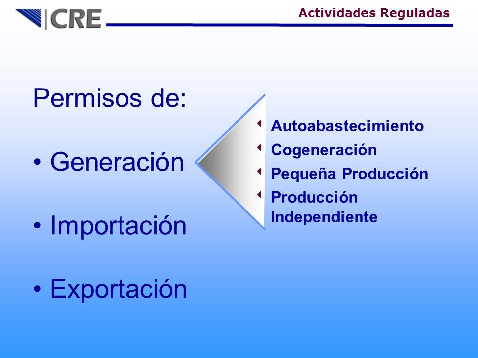 Permisos de: Generación Importación Exportación Autoabastecimiento Cogeneración Pequeña Producción Producción Independiente Actividades Reguladas
