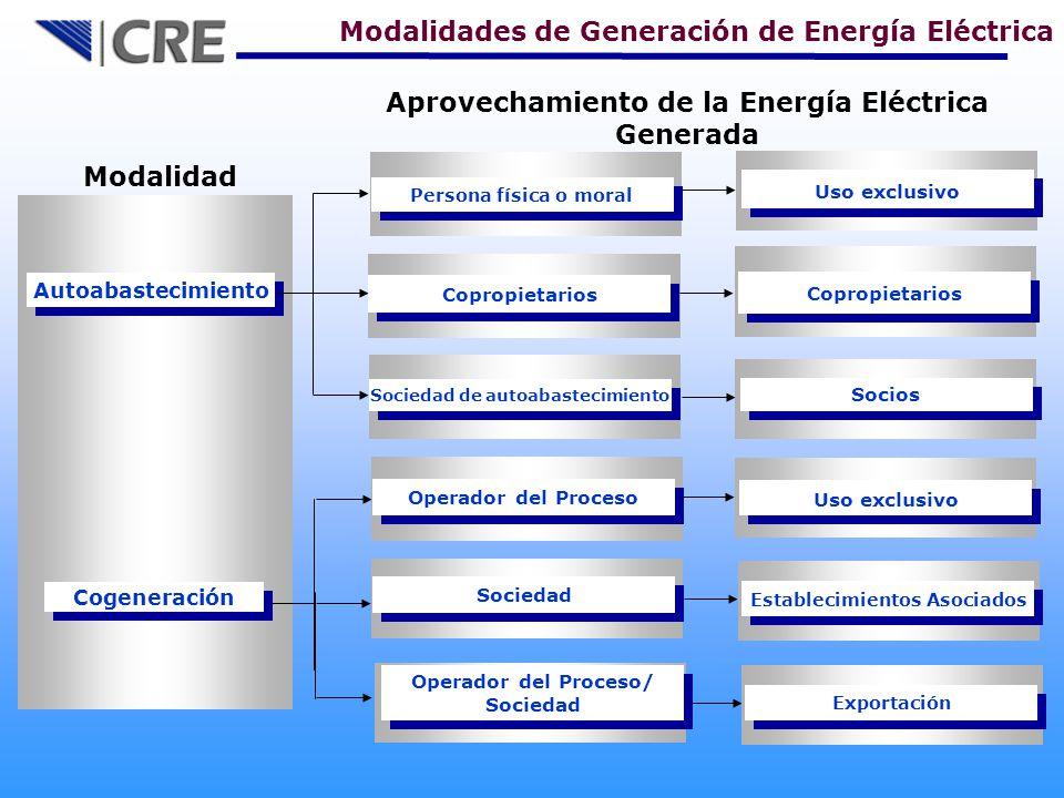 Cogeneración Modalidad Autoabastecimiento Copropietarios Persona física o moral Sociedad de autoabastecimiento Operador del Proceso Sociedad Copropietarios Uso exclusivo Socios Uso exclusivo Establecimientos Asociados Aprovechamiento de la Energía Eléctrica Generada Modalidades de Generación de Energía Eléctrica Operador del Proceso/ Sociedad Operador del Proceso/ Sociedad Exportación