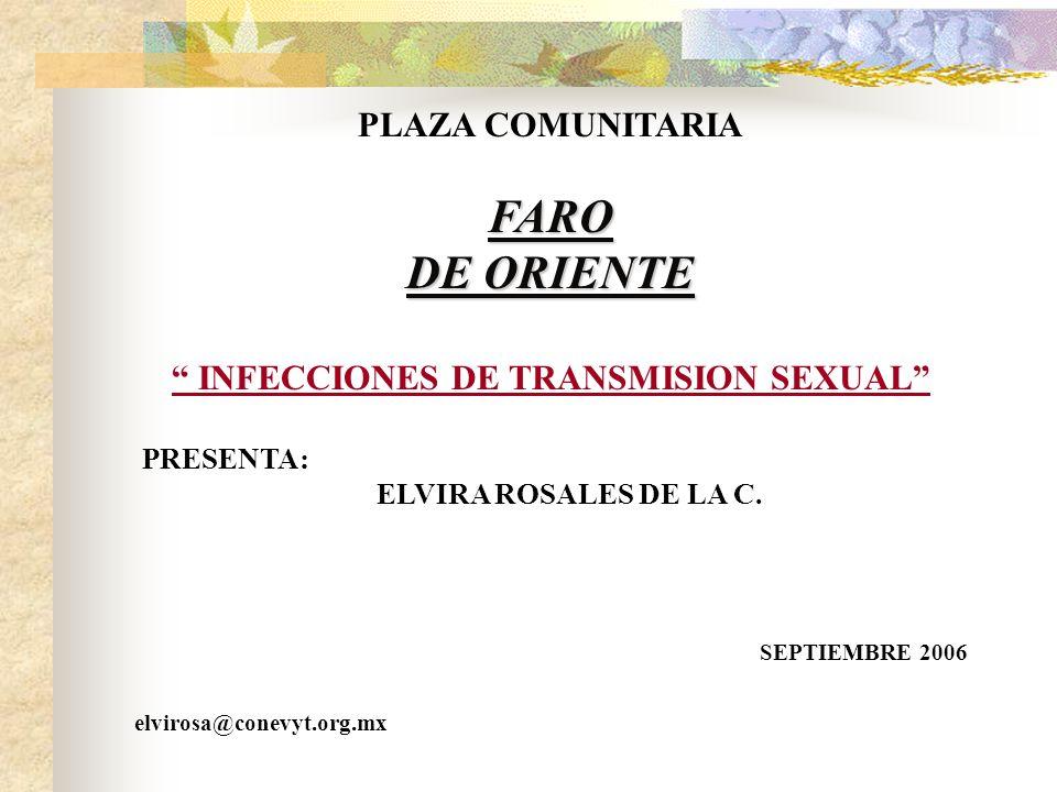 PLAZA COMUNITARIAFARO DE ORIENTE INFECCIONES DE TRANSMISION SEXUAL PRESENTA: ELVIRA ROSALES DE LA C.