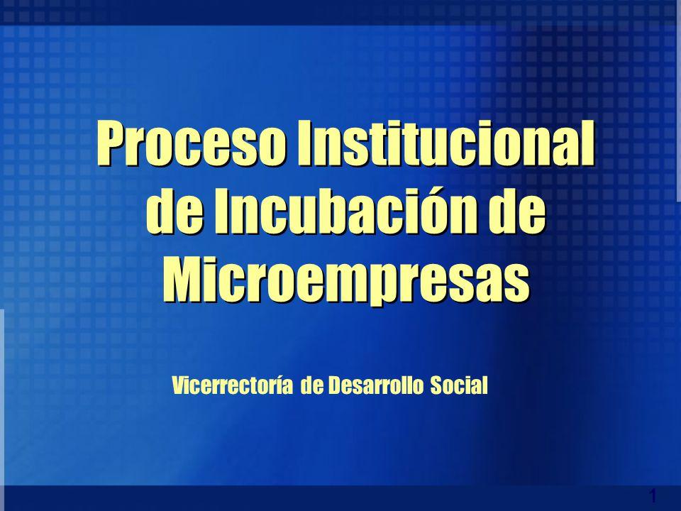 1 Proceso Institucional de Incubación de Microempresas Vicerrectoría de Desarrollo Social