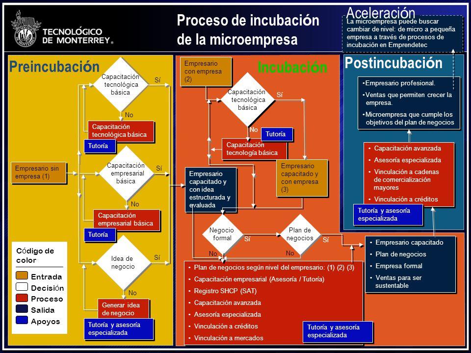 Negocio formal SíSí Proceso de incubaci ó n de la microempresa Empresario sin empresa (1) Empresario sin empresa (1) Capacitación tecnológica básica C