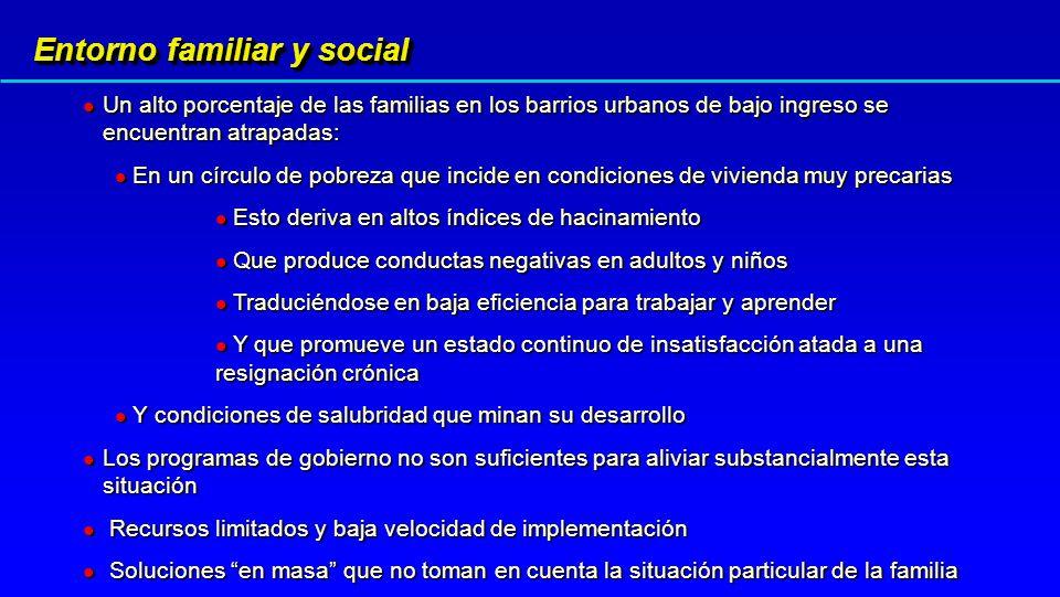 Entorno familiar y social Un alto porcentaje de las familias en los barrios urbanos de bajo ingreso se encuentran atrapadas: Un alto porcentaje de las
