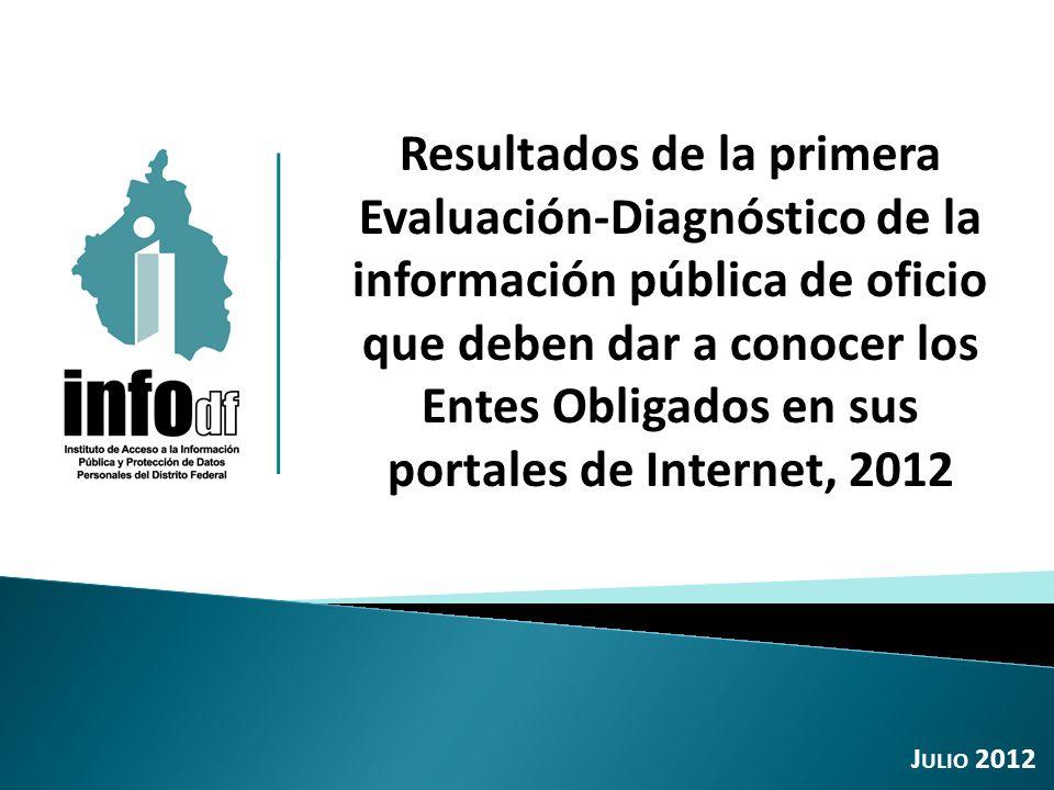 Resultados de la primera Evaluación-Diagnóstico de la información pública de oficio que deben dar a conocer los Entes Obligados en sus portales de Internet, 2012 J ULIO 2012