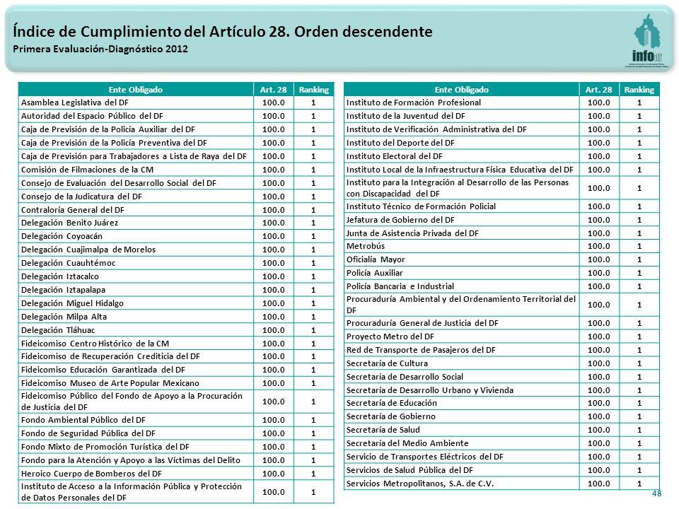48 Índice de Cumplimiento del Artículo 28.