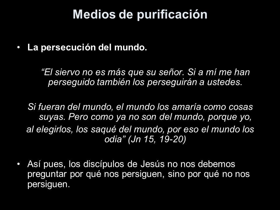 Medios de purificación La persecución del mundo. El siervo no es más que su señor. Si a mí me han perseguido también los perseguirán a ustedes. Si fue