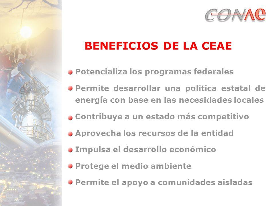 BENEFICIOS DE LA CEAE Potencializa los programas federales Permite desarrollar una política estatal de energía con base en las necesidades locales Contribuye a un estado más competitivo Aprovecha los recursos de la entidad Impulsa el desarrollo económico Protege el medio ambiente Permite el apoyo a comunidades aisladas