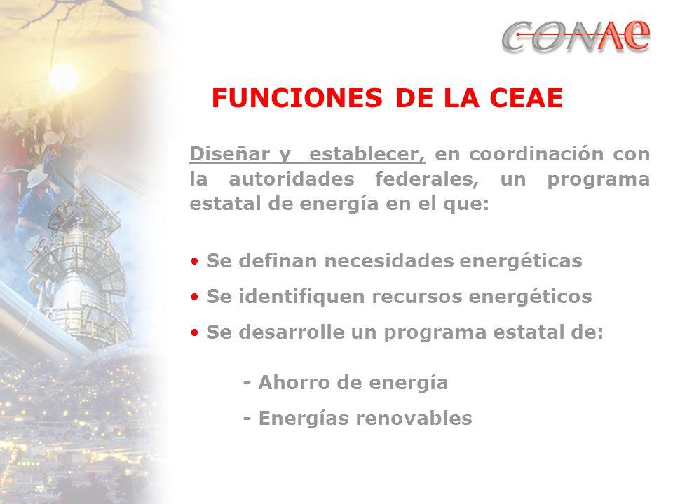 FUNCIONES DE LA CEAE Diseñar y establecer, en coordinación con la autoridades federales, un programa estatal de energía en el que: Se definan necesidades energéticas Se identifiquen recursos energéticos Se desarrolle un programa estatal de: - Ahorro de energía - Energías renovables