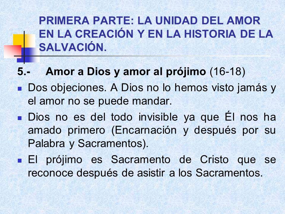 PRIMERA PARTE: LA UNIDAD DEL AMOR EN LA CREACIÓN Y EN LA HISTORIA DE LA SALVACIÓN.
