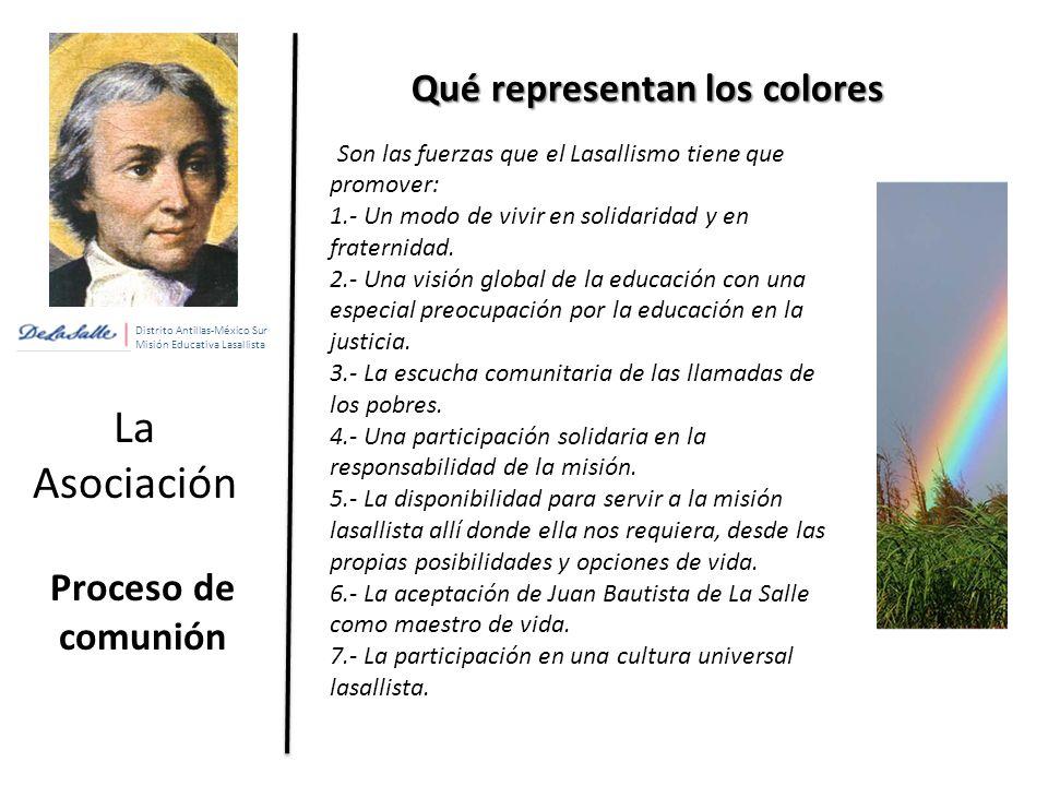 Distrito Antillas-México Sur Misión Educativa Lasallista La Asociación Proceso de comunión Qué representan los colores Son las fuerzas que el Lasallismo tiene que promover: 1.- Un modo de vivir en solidaridad y en fraternidad.