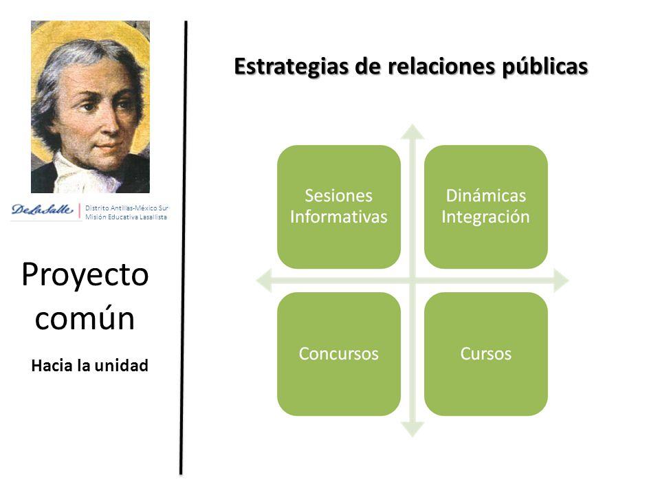 Distrito Antillas-México Sur Misión Educativa Lasallista Proyecto común Hacia la unidad Estrategias de relaciones públicas