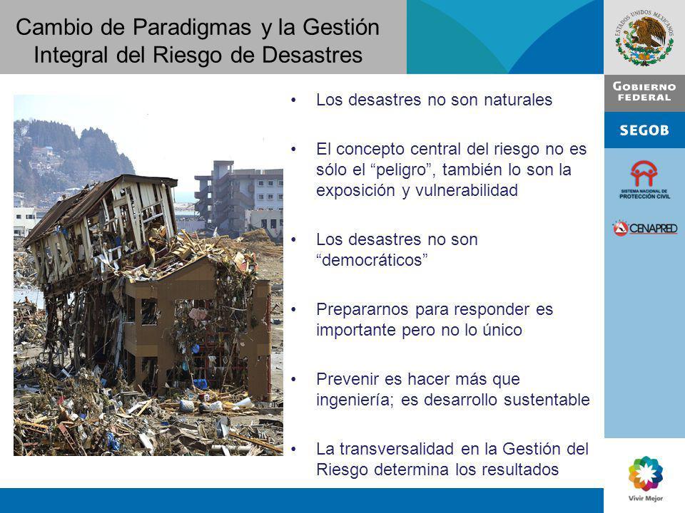 Cambio de Paradigmas y la Gestión Integral del Riesgo de Desastres Los desastres no son naturales El concepto central del riesgo no es sólo el peligro
