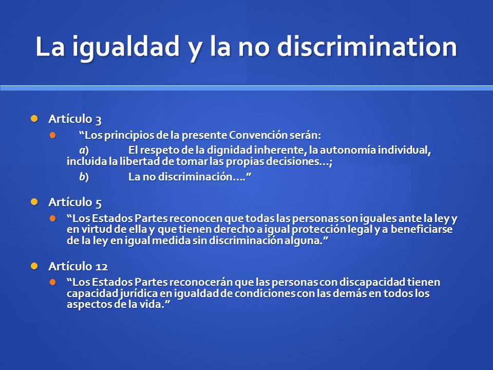 La igualdad y la no discrimination Artículo 3 Artículo 3 Los principios de la presente Convención serán: Los principios de la presente Convención será
