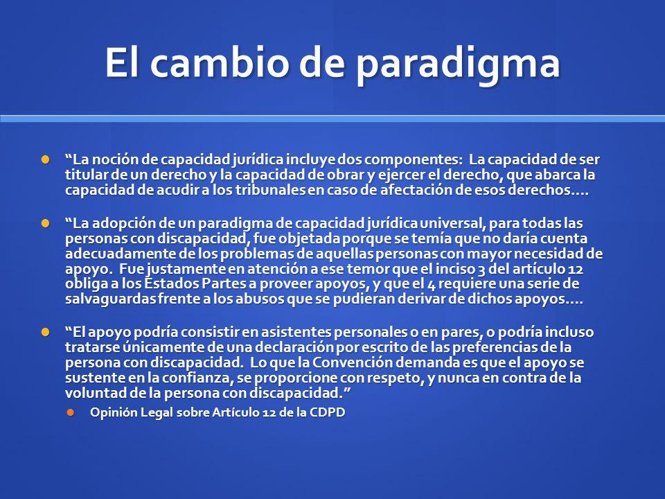 El cambio de paradigma La noción de capacidad jurídica incluye dos componentes: La capacidad de ser titular de un derecho y la capacidad de obrar y ej