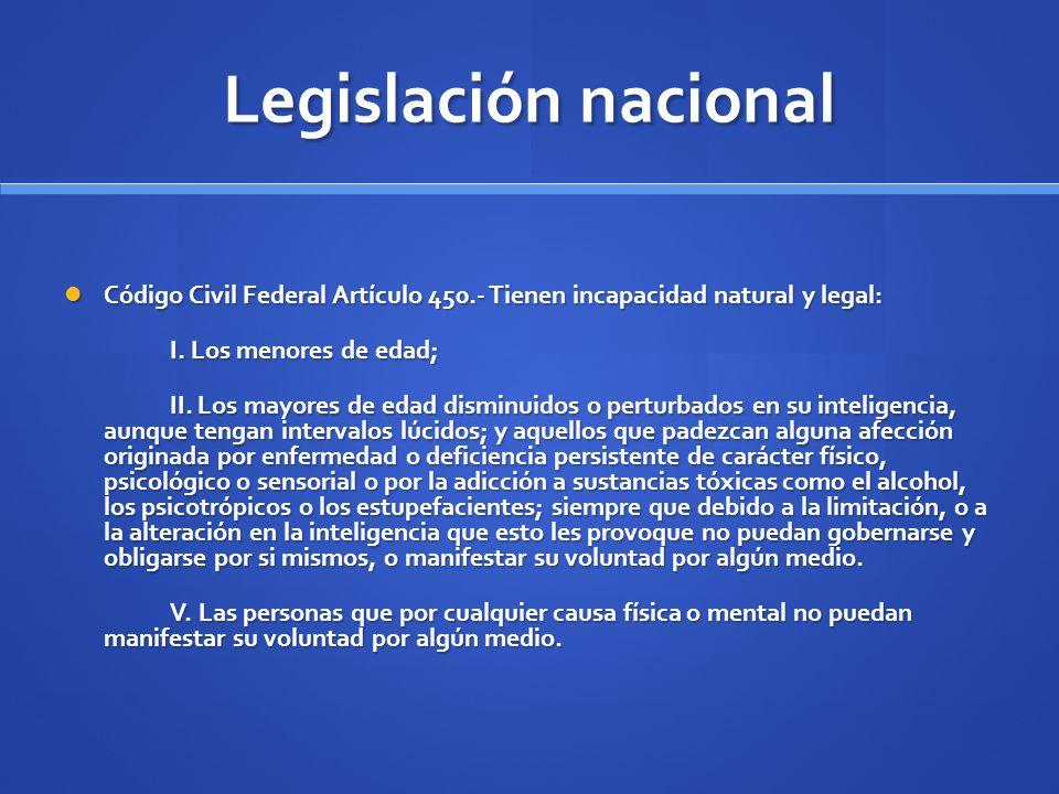 Legislación nacional Código Civil Federal Artículo 450.- Tienen incapacidad natural y legal: Código Civil Federal Artículo 450.- Tienen incapacidad na