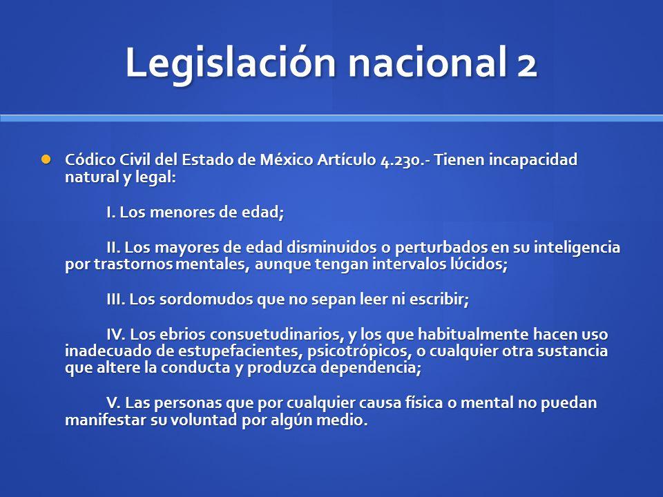 Legislación nacional 2 Códico Civil del Estado de México Artículo 4.230.- Tienen incapacidad natural y legal: Códico Civil del Estado de México Artícu