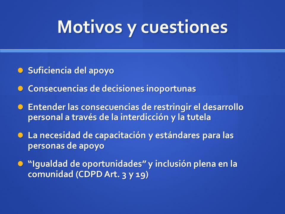 Motivos y cuestiones Suficiencia del apoyo Suficiencia del apoyo Consecuencias de decisiones inoportunas Consecuencias de decisiones inoportunas Enten