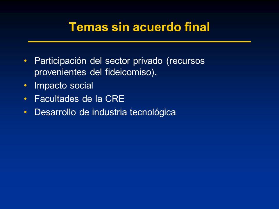 Temas sin acuerdo final Participación del sector privado (recursos provenientes del fideicomiso).