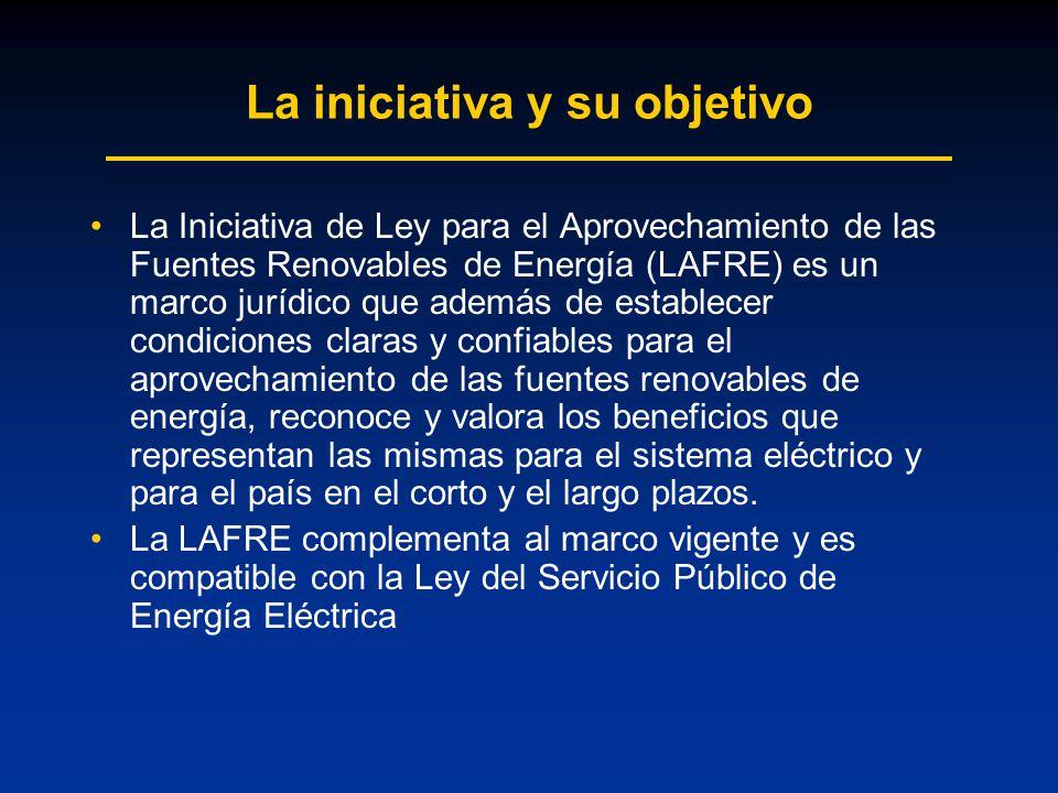 La iniciativa y su objetivo La Iniciativa de Ley para el Aprovechamiento de las Fuentes Renovables de Energía (LAFRE) es un marco jurídico que además de establecer condiciones claras y confiables para el aprovechamiento de las fuentes renovables de energía, reconoce y valora los beneficios que representan las mismas para el sistema eléctrico y para el país en el corto y el largo plazos.