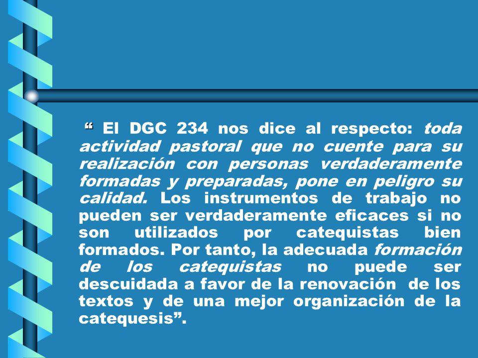 El DGC 234 nos dice al respecto: toda actividad pastoral que no cuente para su realización con personas verdaderamente formadas y preparadas, pone en peligro su calidad.