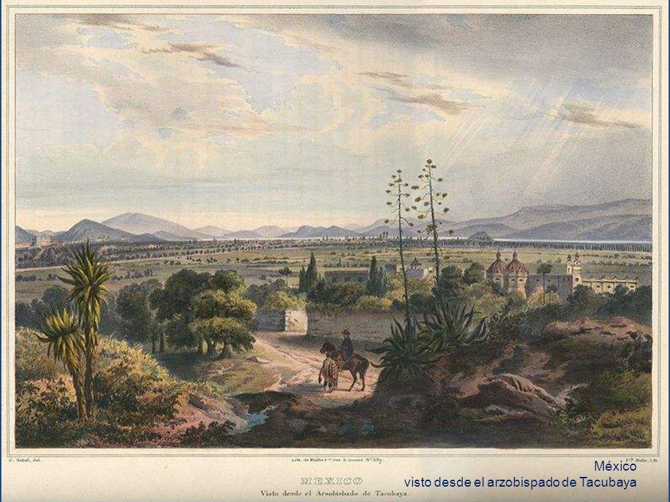 Vista sobre los volcanes de México desde el pueblo de Tacubaya