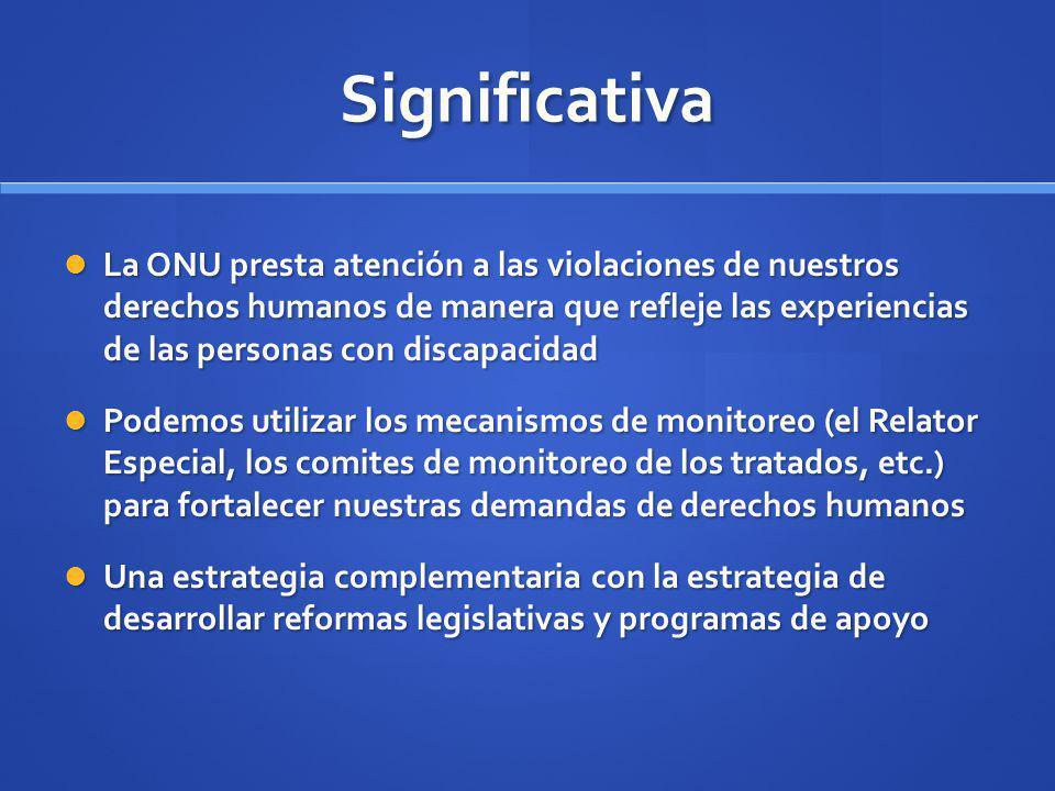 Significativa La ONU presta atención a las violaciones de nuestros derechos humanos de manera que refleje las experiencias de las personas con discapa