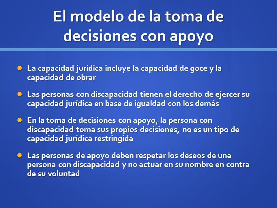 El modelo de la toma de decisiones con apoyo La capacidad jurídica incluye la capacidad de goce y la capacidad de obrar La capacidad jurídica incluye
