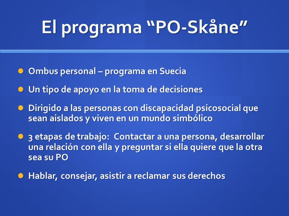 El programa PO-Skåne Ombus personal – programa en Suecia Ombus personal – programa en Suecia Un tipo de apoyo en la toma de decisiones Un tipo de apoy