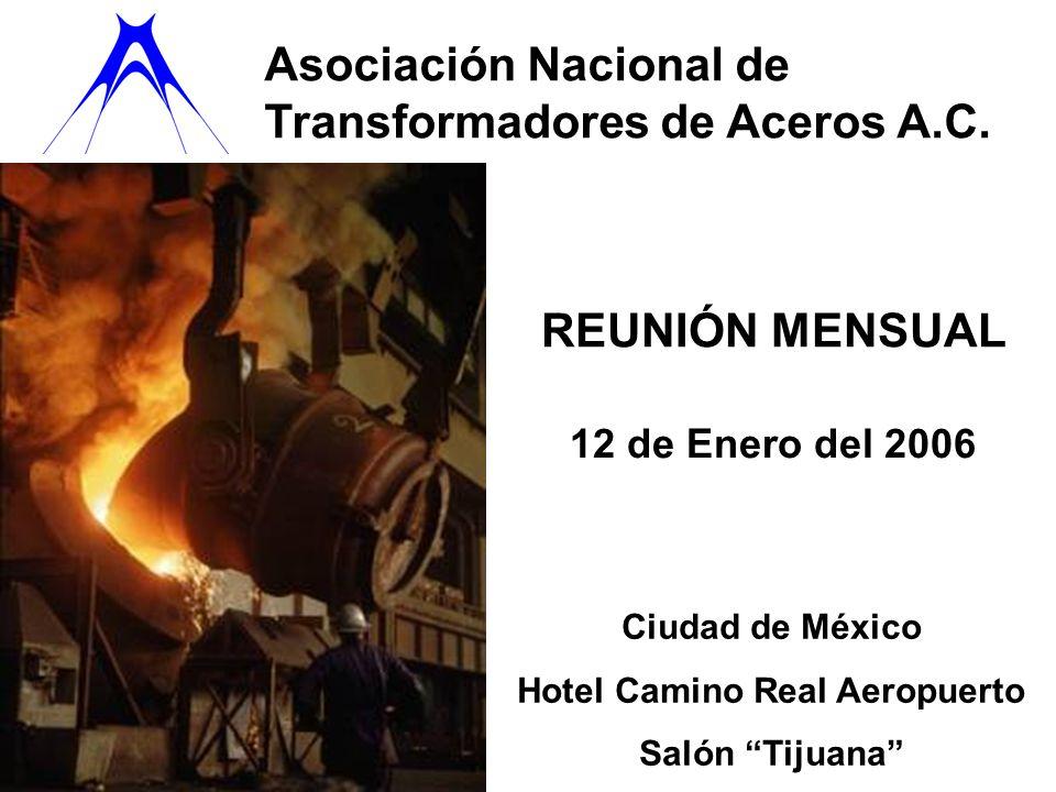 Asociación Nacional de Transformadores de Aceros A.C. REUNIÓN MENSUAL 12 de Enero del 2006 Ciudad de México Hotel Camino Real Aeropuerto Salón Tijuana