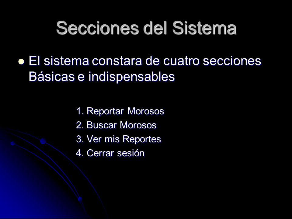 Secciones del Sistema El sistema constara de cuatro secciones Básicas e indispensables El sistema constara de cuatro secciones Básicas e indispensable