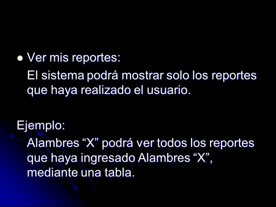 Ver mis reportes: Ver mis reportes: El sistema podrá mostrar solo los reportes que haya realizado el usuario. Ejemplo: Alambres X podrá ver todos los